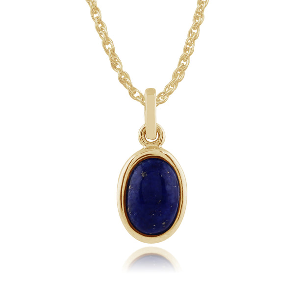 Classic Oval Lapis Lazuli Bezel Pendant & Solitaire Ring Set in 9ct Yellow Gold