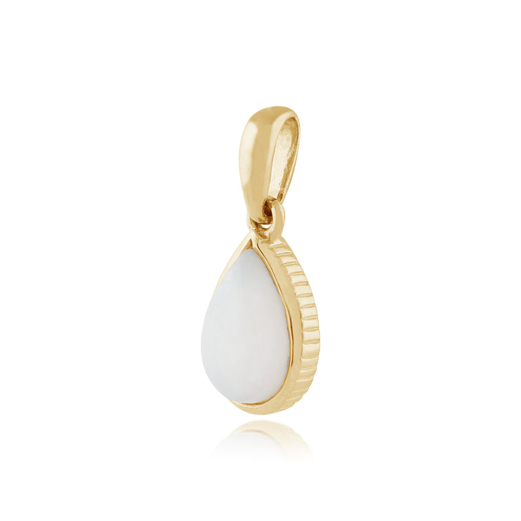 Classic Pear Opal Pendant in 9ct Yellow Gold
