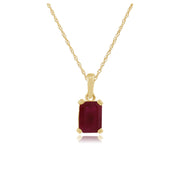 9ct Yellow Gold Ruby Baguette Pendant on 45cm Chain
