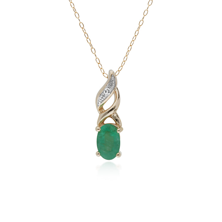 10ct Yellow Gold Emerald &Diamond Pendant on 45cm Chain