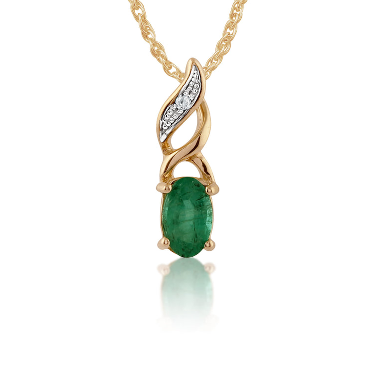 Classic Oval Emerald & Diamond Pendant in 9ct Yellow Gold