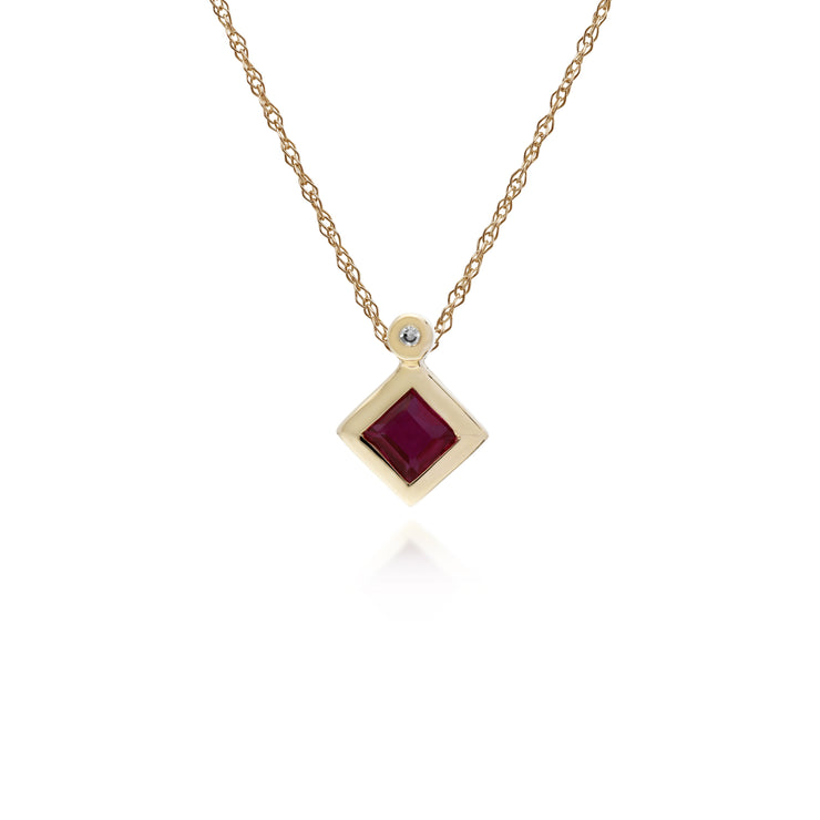 Geometric Square Ruby & Diamond Pendant in 9ct Yellow Gold