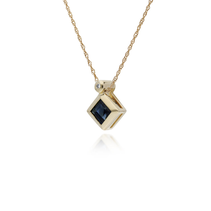 Geometric Square Sapphire & Diamond Pendant in 9ct Yellow Gold