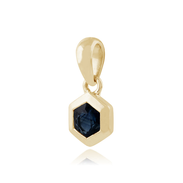 Geometric Hexagon Sapphire Bezel Set Pendant in 9ct Yellow Gold
