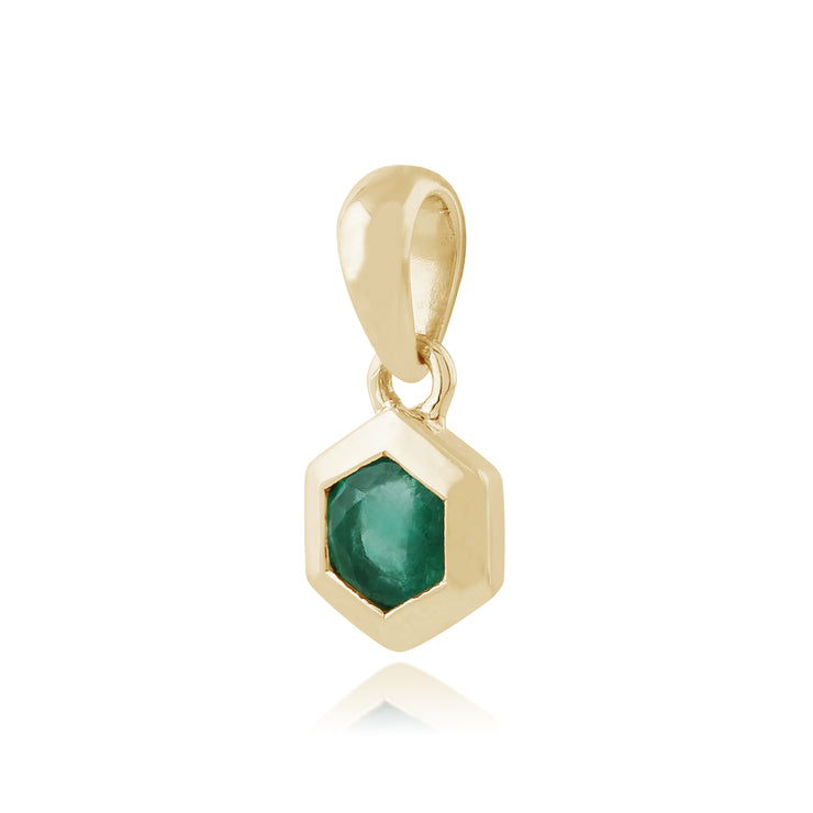 Geometric Hexagon Emerald Pendant in 9ct Yellow Gold