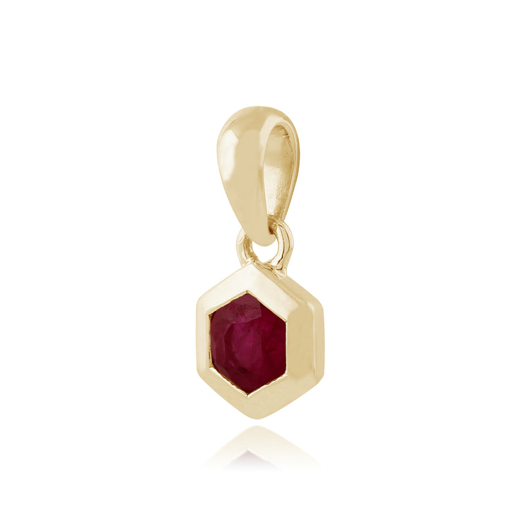Geometric Hexagon 9ct Yellow Gold Ruby Pendant