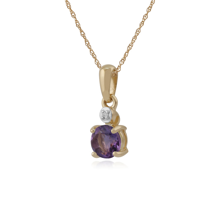 Classic Round Amethyst & Diamond Pendant in 9ct Yellow Gold