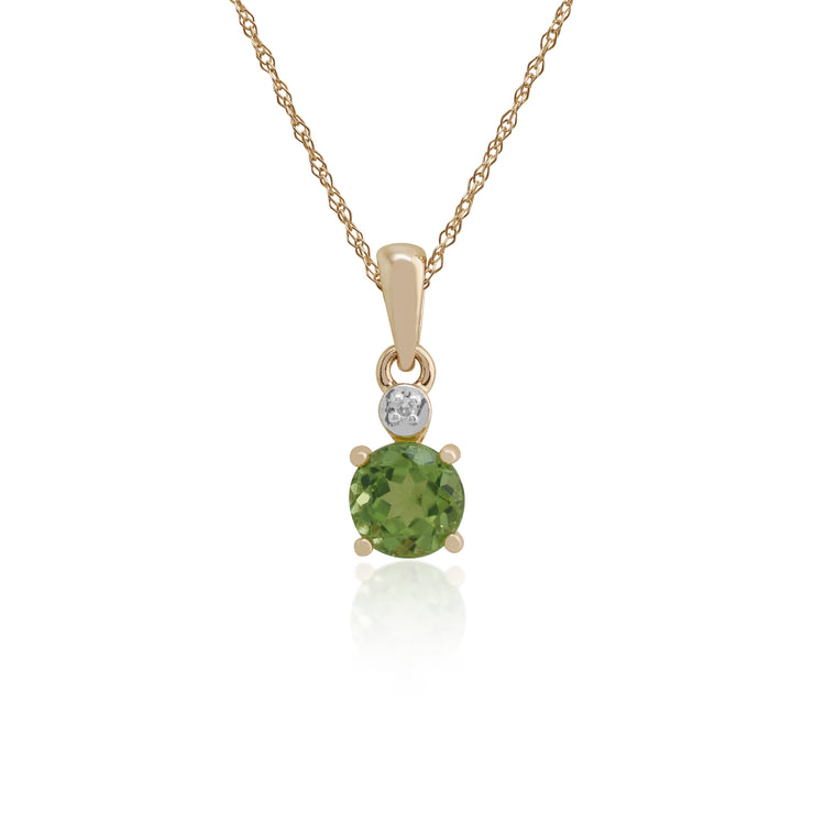 Classic Round Peridot & Diamond Pendant in 9ct Yellow Gold