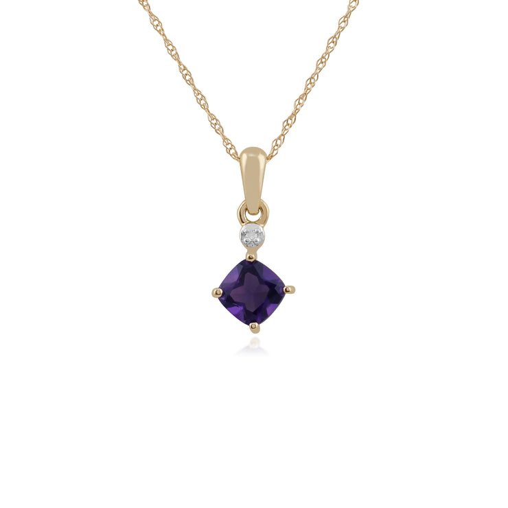 Classic Square Amethyst & Diamond Pendant in 9ct Yellow Gold