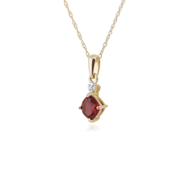 Classic Square Garnet & Diamond Pendant in 9ct Yellow Gold