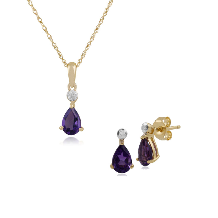 Classic Pear Amethyst & Diamond Stud Earrings & Pendant Set in 9ct Yellow Gold