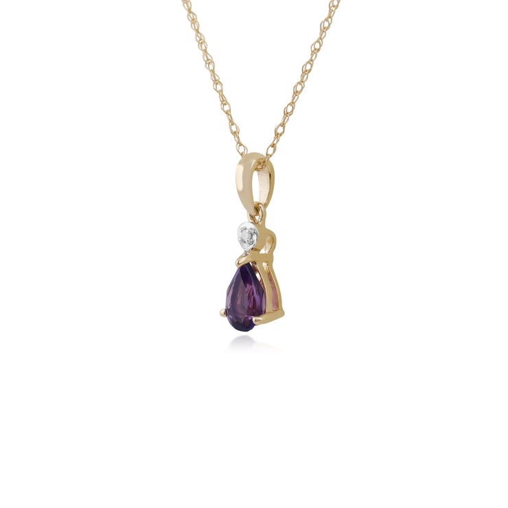 Classic Pear Amethyst & Diamond Pendant in 9ct Yellow Gold