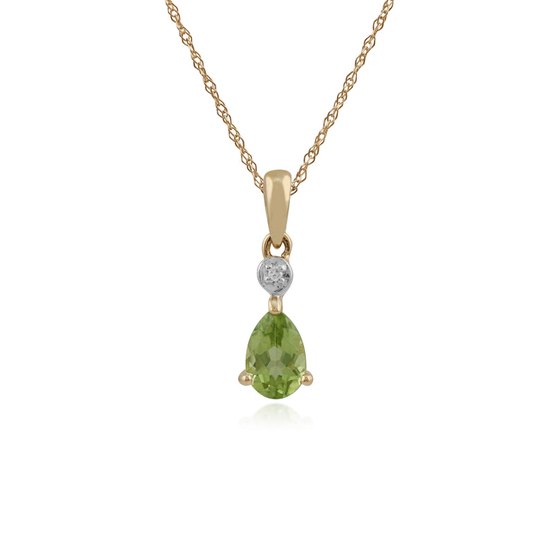 Classic Pear Peridot & Diamond Stud Earrings & Pendant Set in 9ct Yellow Gold