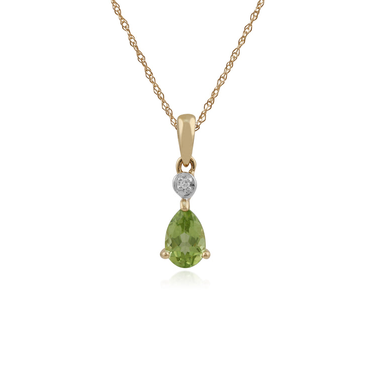 Classic Pear Peridot & Diamond Pendant in 9ct Yellow Gold
