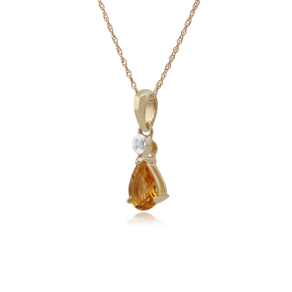 Classic Pear Citrine & Diamond Pendant in 9ct Yellow Gold