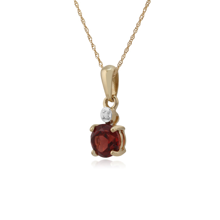 Classic Round Garnet & Diamond Pendant in 9ct Yellow Gold