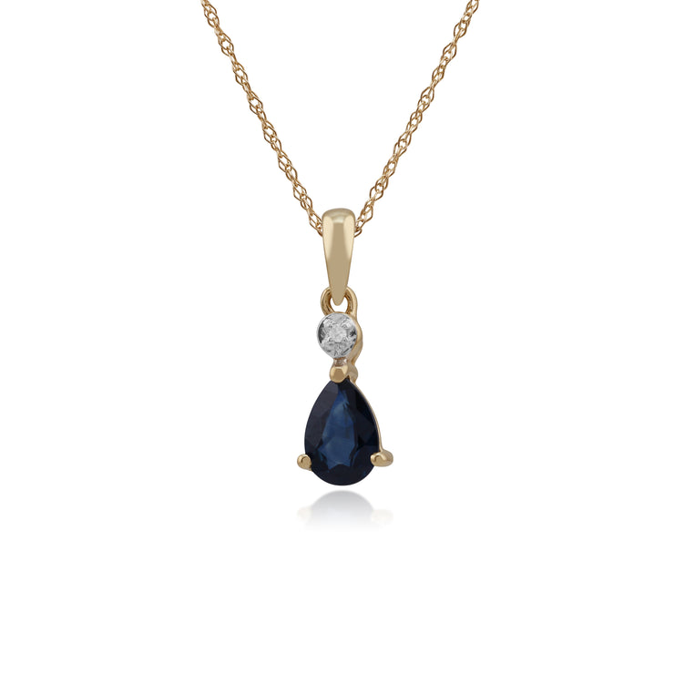 Classic Pear Sapphire & Diamond Pendant in 9ct Yellow Gold