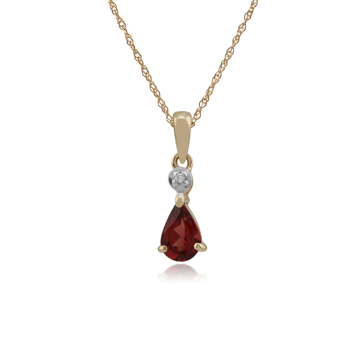 Classic Pear Garnet & Diamond Pendant in 9ct Yellow Gold