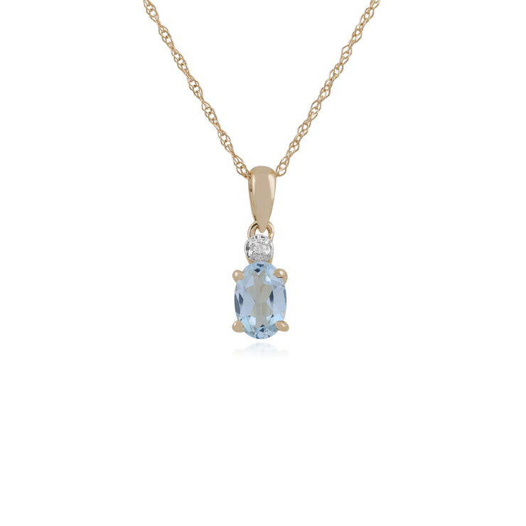Classic Oval Aquamarine & Diamond Pendant in 9ct Yellow Gold