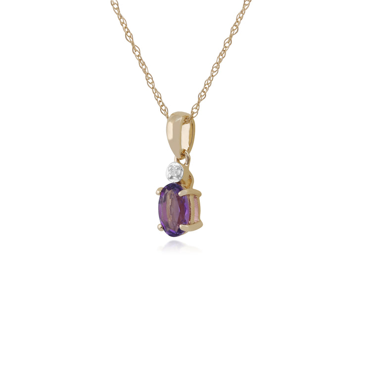 Classic Oval Amethyst & Diamond Pendant in 9ct Yellow Gold