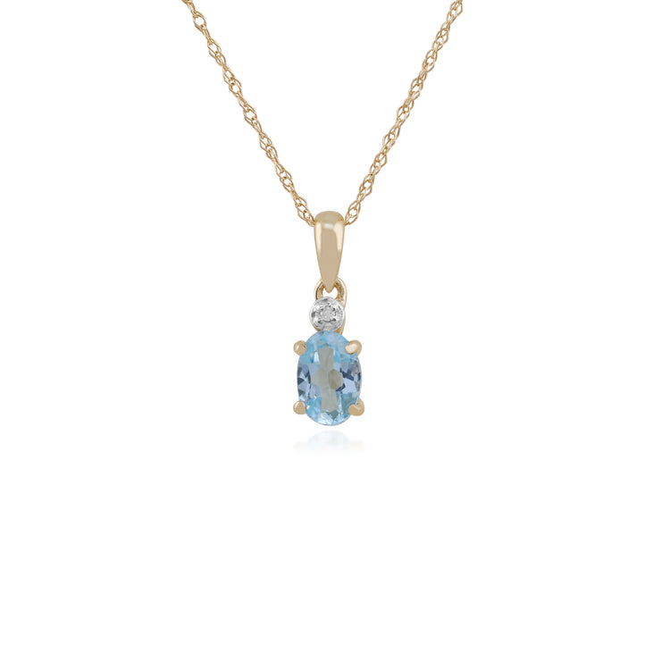 Classic Oval Blue Topaz & Diamond Pendant in 9ct Yellow Gold