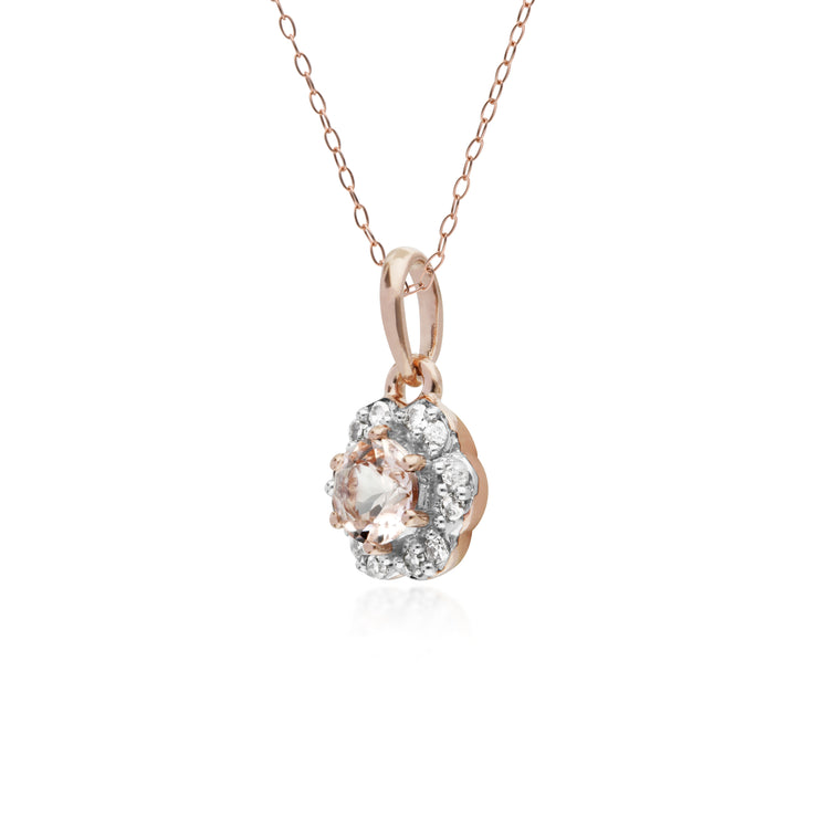 10ct Rose Gold Morganite & Diamond Floral Pendant on 45cm Chain