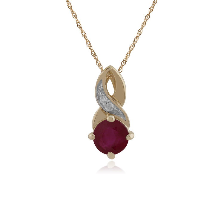 Classic Round Ruby & Diamond Twisted Bale Pendant in 9ct Yellow Gold