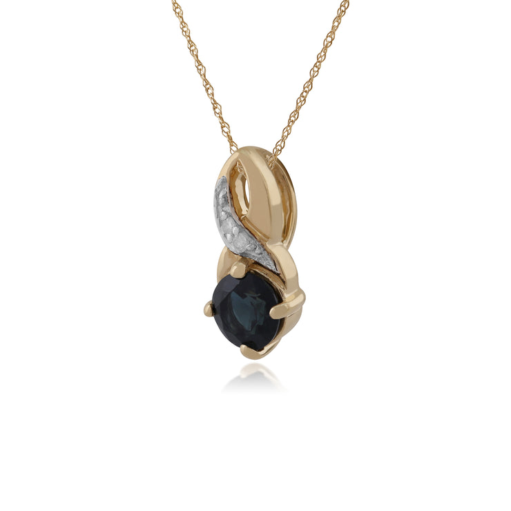Classic Round Sapphire & Diamond Twisted Bale Pendant in 9ct Yellow Gold