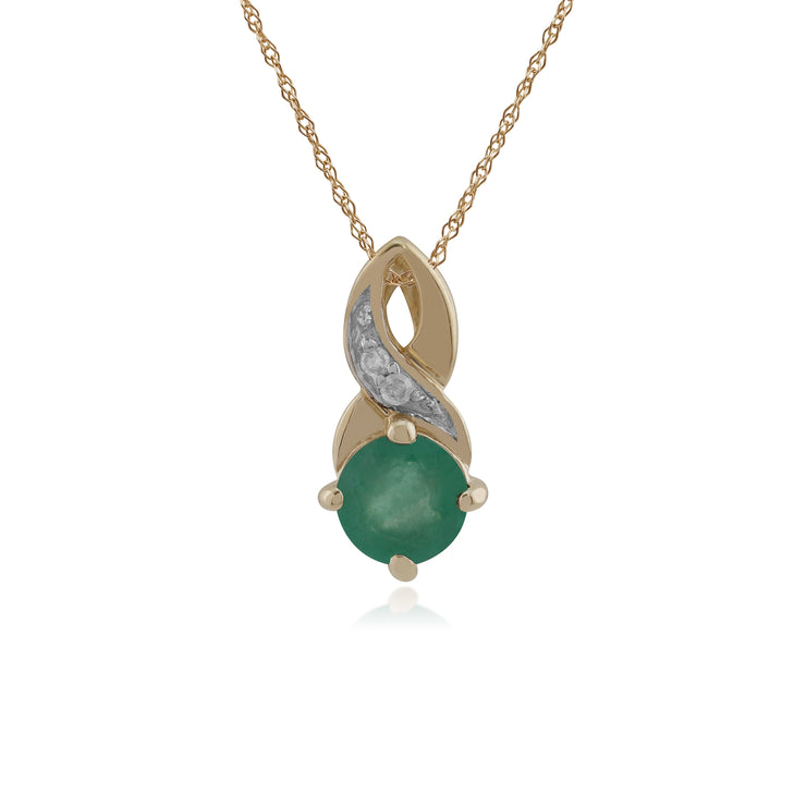 Classic Round Emerald & Diamond Twisted Bale Pendant in 9ct Yellow Gold