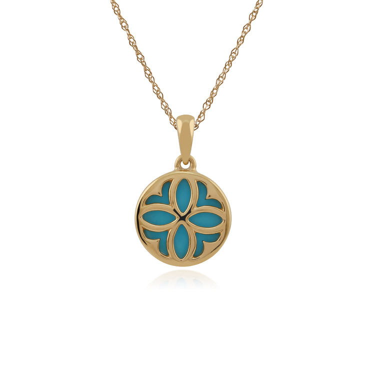 Art Nouveau Style Round Turquoise Floral Pattern Overlay Pendant in 9ct Yellow Gold