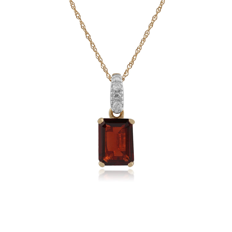 Classic Baguette Garnet & Diamond Bale Pendant in 9ct Yellow Gold