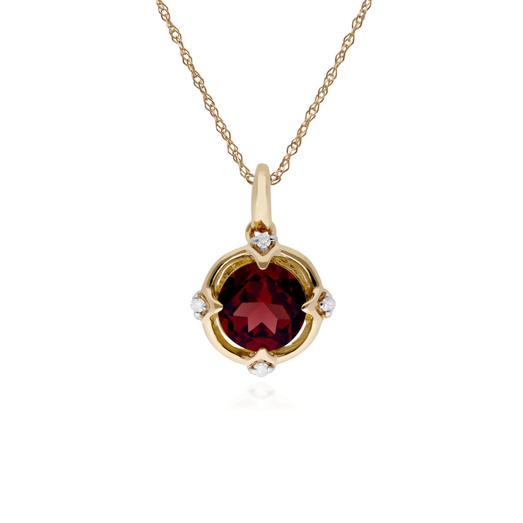 Gemondo 9ct Yellow Gold Halo Garnet & Diamond Round Cut Pendant on 45cm Chain Image