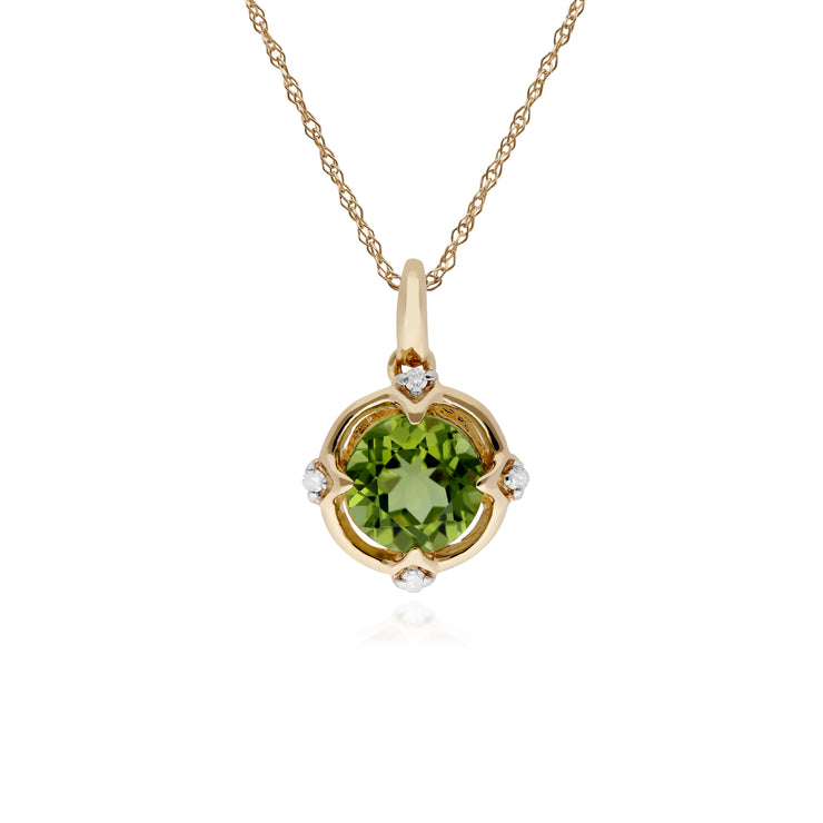 Gemondo 9ct Yellow Gold Halo Peridot & Diamond Round Cut Pendant on 45cm Chain Image