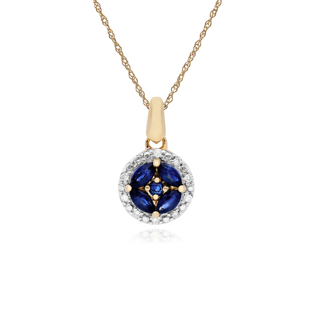 Classic Marquise Sapphire & Diamond Halo Cluster Pendant in 9ct Yellow Gold