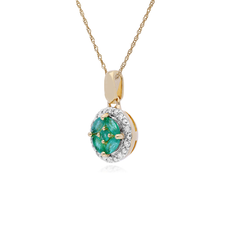 Classic Marquise Emerald & Diamond Halo Cluster Pendant in 9ct Yellow Gold