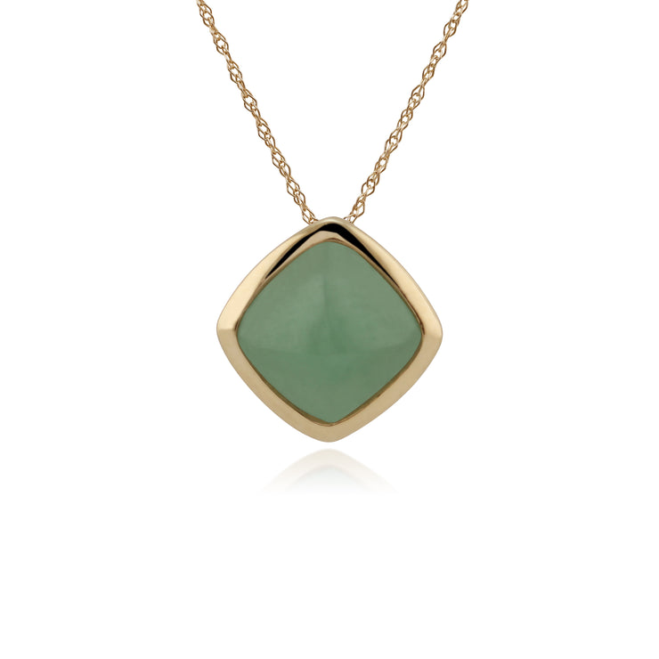 Classic Cushion Green Jade Bezel Set Pendant in 9ct Yellow Gold