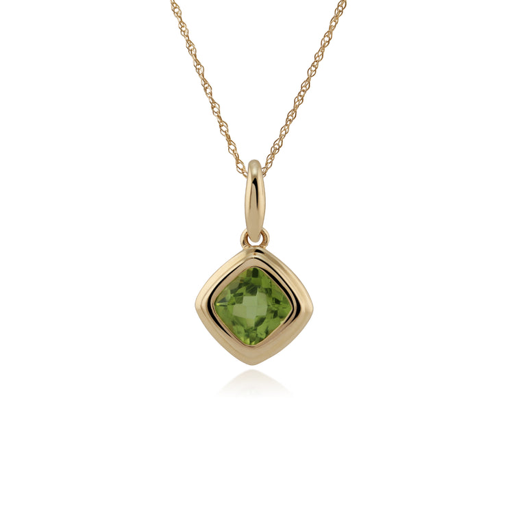 Classic Cushion Peridot Bezel Set Pendant in 9ct Yellow Gold