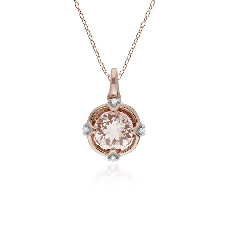 10ct Rose Gold Halo Morganite & Diamond Round Pendant on 45cm Chain - Gemondo