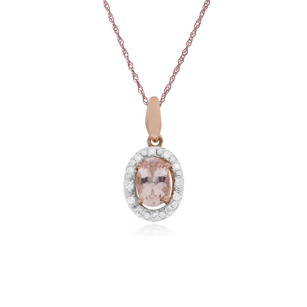 Classic Morganite & Diamond Halo Pendant Image 1