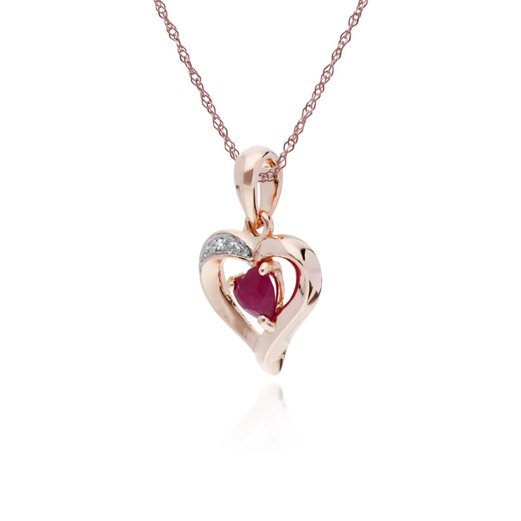 Classic Heart Ruby & Diamond Love Heart Pendant in 9ct Rose Gold