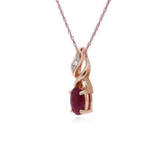 Classic Oval Ruby & Diamond Spiral Bale Pendant in 9ct Rose Gold