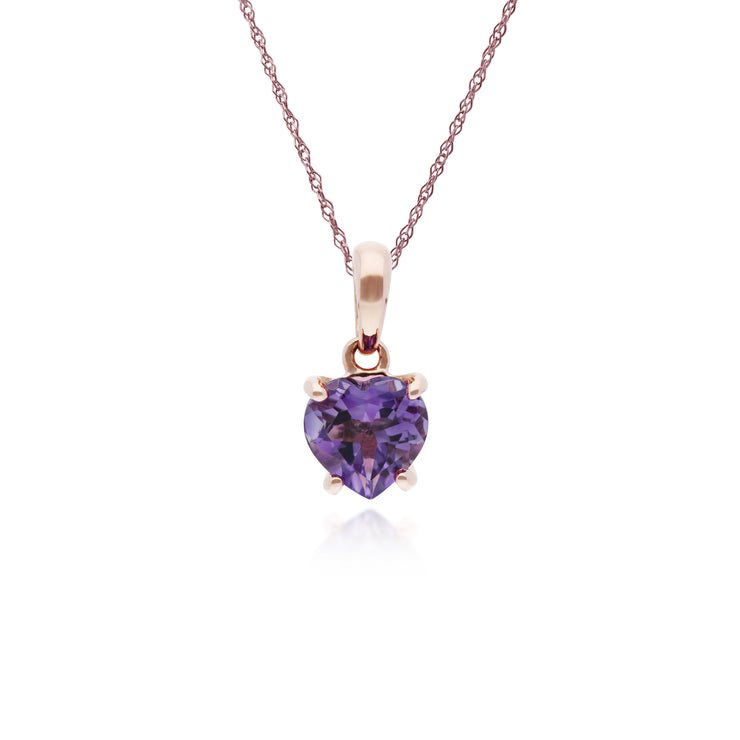 Classic Heart Amethyst Claw Set Love Heart Pendant in 9ct Rose Gold