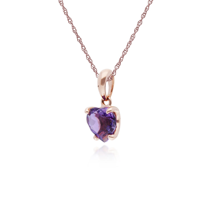 Gemondo 9ct Rose Gold Claw Set Amethyst Heart Pendant on 45cm Chain