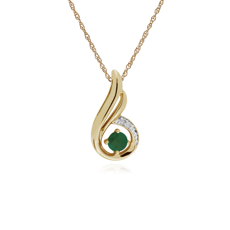 Classic Round Emerald & Diamond Spiral Drop Pendant in 9ct Yellow Gold