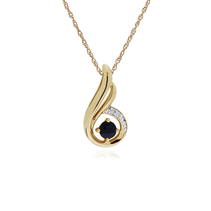 Classic Round Sapphire & Diamond Spiral Drop Pendant in 9ct Yellow Gold