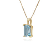 Classic Baguette Blue Topaz Claw Set Pendant in 9ct Yellow Gold