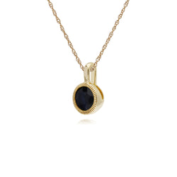 Classic Single Stone Round Sapphire Milgrain Pendant in 9ct Yellow Gold