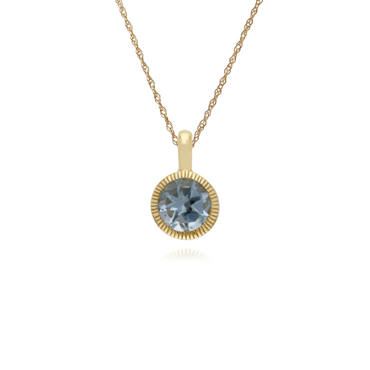 Classic Single Stone Round Blue Topaz Milgrain Pendant in 9ct Yellow Gold