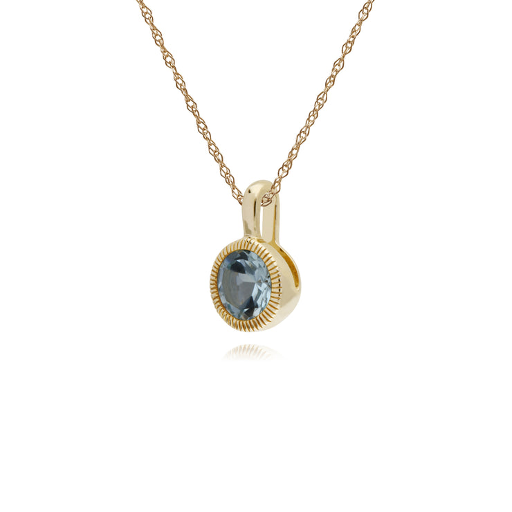 Gemondo 9ct Yellow Gold Blue Topaz Round Milgrain 45cm Necklace