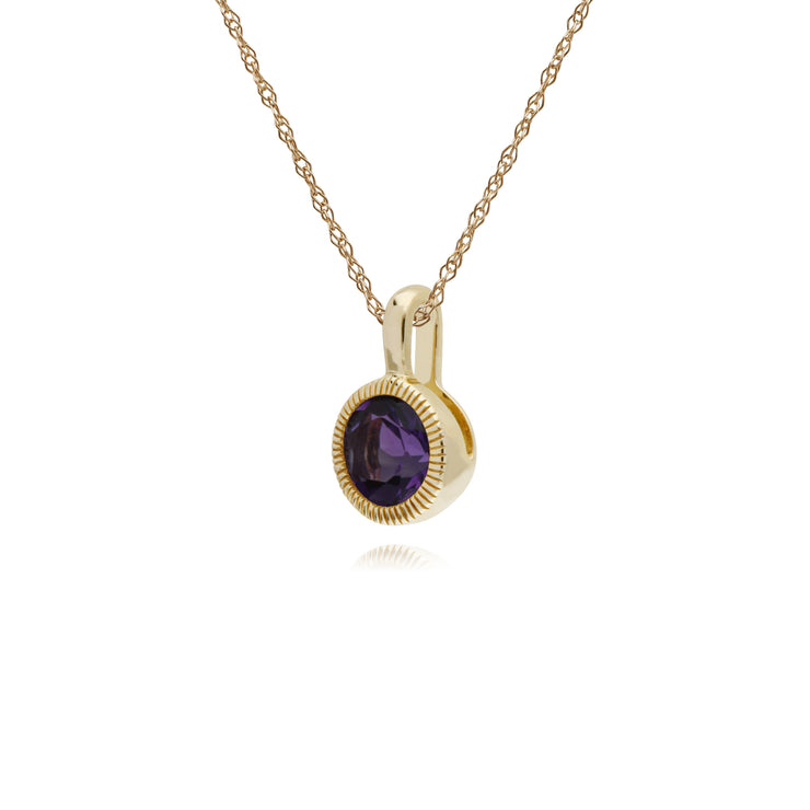 Classic Single Stone Round Amethyst Milgrain Pendant in 9ct Yellow Gold